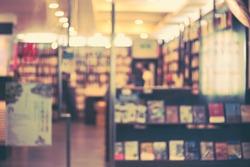 De focused/Blur image of a bookstore. Retro effect. Bookstore background.