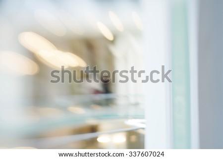 De-focuses business center interior. Blur background. Made with lensbaby.