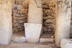 De tail of Hagar Qim neolithic temples. Malta (Maltese islands). Built in 3600-3200 B.C.