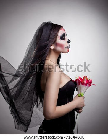 Stock Photo dead bride woman in skull face art mask