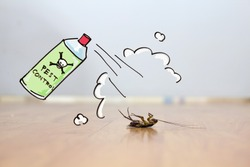Dead cockroach on floor , drawing of pest control concept, pest control and exterminator service