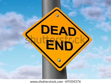 Dead end confusion frustration blocked final destination hopeless road sign sky - stock photo