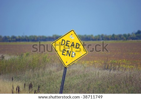 Dead End Sign w/ Bullet Holes
