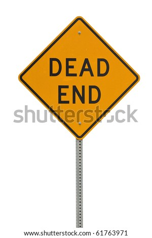 Dead end traffic sign isolated on white background