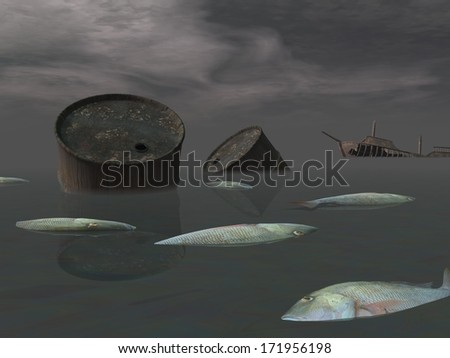 Dead fishes and oil tank in polluted ocean near tanker wreck by dark night stock photo