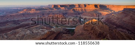 Dead Horse Point Panorama at Dawn.  This Utah park is near Moab and this vantage point provides a view of Canyonlands National Park and the Colorado River.