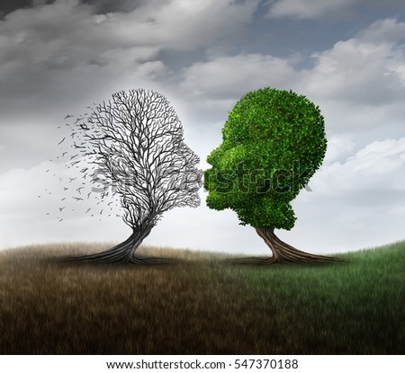 Dead love concept and grieving a relationship loss symbol as a green tree kissing another plant that has died as a psychological sorrow mood metaphor with 3D illustration elements.