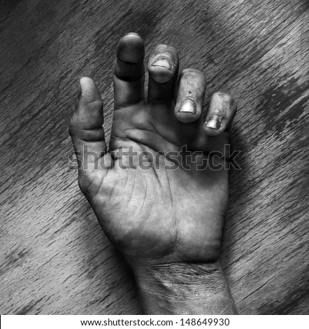 Dead man hand black and white