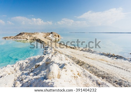 stock photo dead sea coastline with salt road in israel road into the sea in ein bokek israel white mineral 391404232 - Каталог — Фотообои «Море, пляж»