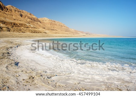 stock photo dead sea coastline with white salt beach and mountains at sunny day in ein bokek israel famous 457499104 - Каталог — Фотообои «Море, пляж»