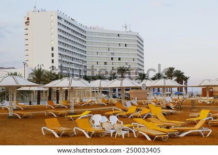 DEAD SEA, EIN BOKEK, ISRAEL - NOVEMBER 28, 2014: Beach at the Crowne Plaza Dead Sea Hotel in Ein Bokek