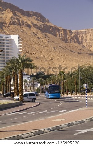 Dead Sea Hotels surrounded by Mountains and desert.Ein Bokek,Israel