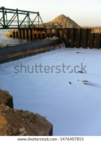 dead sea salty water moving into the factory for salt producing process