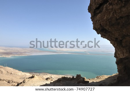 Dead Sea view from Judea mountains. - stock photo