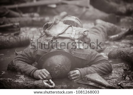Dead soldier on the Western Front. #1081268003