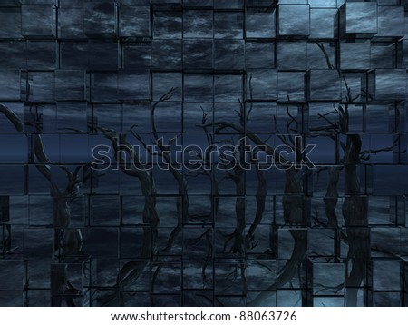 dead trees reflection on a wall of cubes - 3d illustration