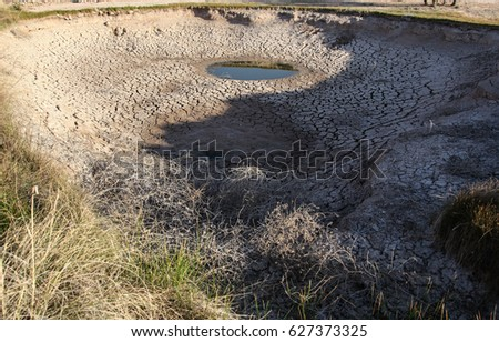 Dead tumbleweeds at drying ground watering hole/Dried Bushy Weeds in Deep Almost Dry Pond with Some Water Still Left/Dead tumbleweeds on dry cracked earth of disappearing watering place #627373325