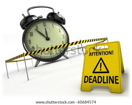 Deadline concept. Retro alarm clock behind danger tape and warning sign.