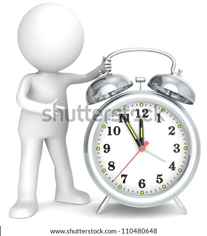 Deadline. 3D little human character pointing at a Clock. Hands at five to twelve. Metal. People series.