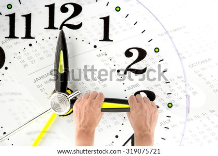Deadline. hand trying to stop time. Time Management. Time pressure. Business concept. Cure for old age. Annual reports. Front view.