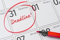 Deadline written on a calendar - December 31