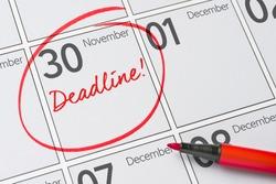 Deadline written on a calendar - November 30