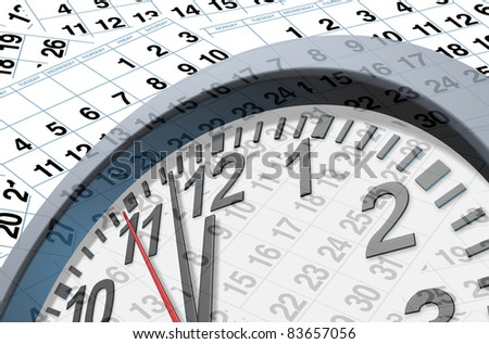 Deadlines and time symbol with calendar pages represented by individual pages with numbers and a clock ticking fast with the hour minute and seconds clock hands..