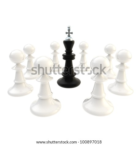 Deadlock conception: black chess king surrounded with white pawns isolated