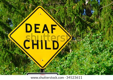 Deaf Child Sign,Trees, Copy Space, horizontal