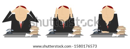 Deaf, dumb, blind business concept illustration. Pensive businessman does not want to hear, see and speak with anybody set isolated on white