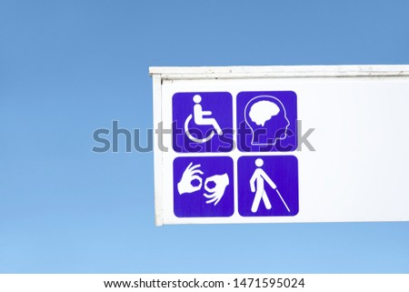Deaf dumb blind disabled and mental health sign