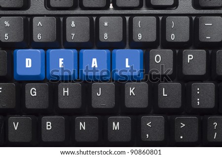 deal word on blue and black keyboard button