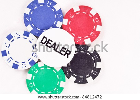 Dealer Chip on Colored Gambling Chips