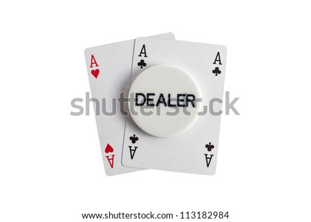 Dealer with aces casino card over white
