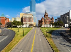Dealey Plaza, city park and National Historic Landmark in downtown Dallas, Texas. Site of President John Fitzgerald Kennedy assassination on Elm Street at left.