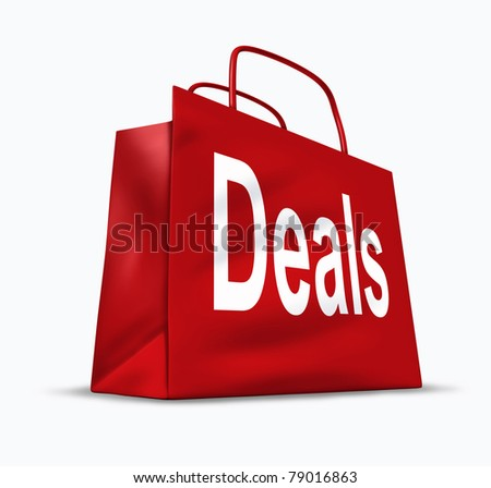 Deals and bargains shopping symbol represented by a red bag showing the concept of special prices for goods and services that are on sale or discounted at stores and malls.