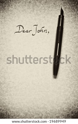 Dear John Letter Being Written In Calligraphy On Parchment