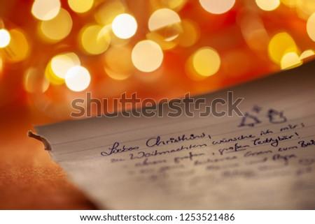 Dear Santa letter (Translation: Dear Christ child (unreadable) a big, big teddy bear (unreadable)