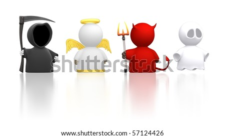 Death, an Angel, the Devil and a Ghost as icon characters. Could be used for religious concepts, halloween, humour, costume party. Use together or cut apart.