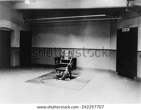 Death chamber and electric chair at Sing Sing Prison in 1923.