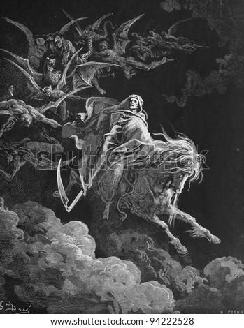 Death. 1) Le Sainte Bible: Traduction nouvelle selon la Vulgate par Mm. J.-J. Bourasse et P. Janvier. Tours: Alfred Mame et Fils. 2) 1866 3) France 4) Gustave Doré - stock photo