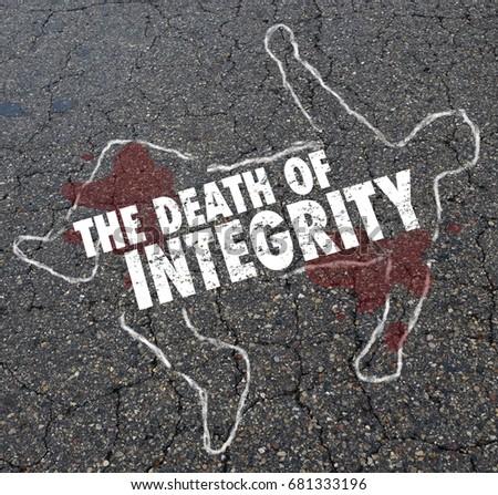 Death of Integrity Chalk Outline Dead Body 3d Illustration