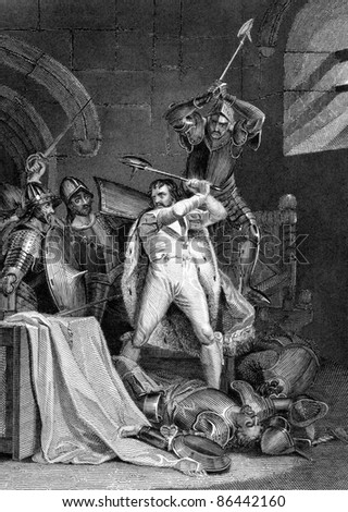 Death of Richard II. Engraved by J.Rogers and published in England's Battles by Sea and Land, United Kingdom, 1857.