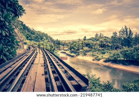 death railway along Kwai river Foto stock ©