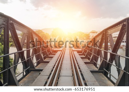 Death Railway at Kanchanaburi Thailand during the sunset. It goes across Kwai river.