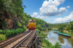 Death Railway with train Famous place in Kanchanaburi Thailand