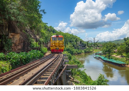 Death Railway with train Famous place in Kanchanaburi Thailand ストックフォト ©