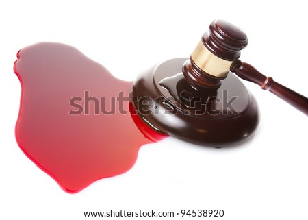 death sentence or injustice concept with juge gavel and blood