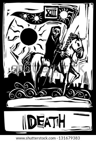Death Tarot card with death riding a horse