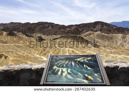 DEATH VALLEY NATIONAL PARK, UNITED STATES - APRIL 10, 2015 : Zabriskie point in the death valley national park, california, usa